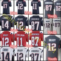 Wholesale England Patriots - England Youth Men's #12 Tom Brady 87 Rob Gronkowski Patriots jersey Men's 11 Julian Edelman 14 Brandin Cooks stitched jerseys