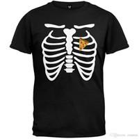 hombres disfraz de corazon al por mayor-2018 Nuevas llegadas Pizza Heart Skeleton Costume Camiseta Camiseta impresa Hombres camiseta Casual Tops