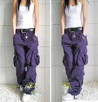 yeni kadınlar hip hop jean toptan satış-Ücretsiz Kargo Yeni Varış Artı Boyutu 5 Renkler Kargo Pantolon Severler Moda Kadınlar Için Hip Hop Gevşek Kot Baggy Pantolon