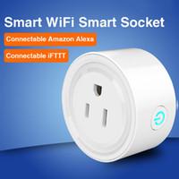 interruptor de salida wifi al por mayor-Smart Home WIFI Enchufes de alimentación Compatible con Alexa Sonoff Wifi Socket Outlet Automatización Aplicación de teléfono Interruptor de sincronización Control remoto Enchufe de EE. UU.