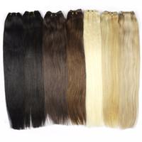 extensões indianas do grampo de cabelo humano venda por atacado-Indiano Remy Clipe em Extensões Do Cabelo Humano Cabeça Completa 120g / Set Clip Remy Brasileiro em Extensões Do Cabelo