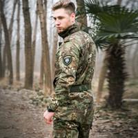 swat army pants black al por mayor-Conjuntos de hombres Ropa de camuflaje táctico Traje de ejército CS Chaqueta casual + Pantalones Trajes de trabajo especiales SWAT Black Jungle Python