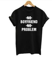 problemas negros al por mayor-Al por mayor- Ningún novio no hay problema con la impresión de letras camiseta blanca top negro camiseta marca plus size