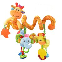 lindos juguetes de jirafa al por mayor-Sonajeros Llegada Juguetes para bebés Linda jirafa musical Cuna multifuncional Cama colgante Campana Juguetes educativos Sonajeros para niños