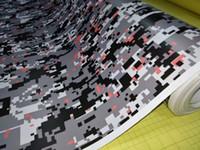 ingrosso vinile per la stampa digitale-Impressionante Camo Vinyl stampato in colore arancione per la confezione di auto con adesivi a bolle d'aria Camouflage Car wrapping grafica 1.52x30m