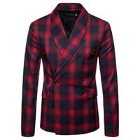 blazers masculinos venda por atacado-Homens Blazer Masculino Slim Fit Outono 2019 dos homens Terno Elegante Escuro Padrão Gentleman Terno Jaqueta Terno Masculino