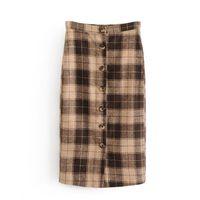 ingrosso gonna invernale marrone-Gonne lunghe di lana vintage retrò plaid di lana autunno e inverno moda coreana