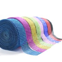 Wholesale gift wrapping plastic for sale - Bendable Diamond Mesh Wrap Roll Vacuum Eco Friendly Sparkle Rhinestone Multi Color High Quality Plastic Crystal Ribbon ms jj