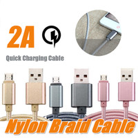 Wholesale quick wire - Micro USB Cable Nylon Braided 2A Quick Wire Metal Plug Data Sync Charging Data Microusb Charging Cable 1M 2M 3M for android devices