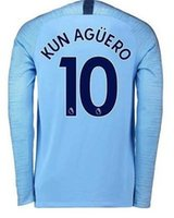 Wholesale cheap quality clothes online - Long Sleeve customized Kun Agüero Sterling G Jesus Sané Thai Quality sports jerseys Cheap buy Athletic fan clothing jersey