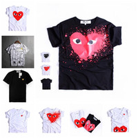 Wholesale red shirts game - Designer T Shirt Mens New Fashion Brand Plays Games Red Heart Men Lovers Printed T Shirt Hip-hop Solid Short Sleeve Women Tops