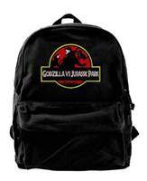 Wholesale Godzilla Vs Jurassic Park Logo Canvas Shoulder Backpack Unique Backpack For Men Women Teens College Travel Daypack Black