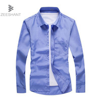 Wholesale Men Wedding Dress Shirts - ZEESHANT 2018 Top Fashion Men Dress Shirt Luxury Brand Wedding Long Sleeve Formal Shirt Slim Fit Plus Size 5XL Tuxedo Shirts