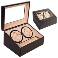 Wholesale Wood Bedroom Furniture - Brown Watch Winder Storage Display Case Box 4+6 Automatic Rotate Leather Wooden