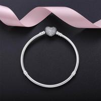 se ajusta a la pulsera al por mayor-Auténtica pulsera de los encantos del corazón de plata esterlina 925 con caja Fit Pandora perlas europeas joyas brazalete pulsera de plata real para mujeres