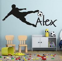 Wholesale wall decals personalized name - Football Soccer Ball Personalized Name Vinyl Wall Decal Sticker Art Children Wall Sticker Kids Room Decor Home Decoration Y-91