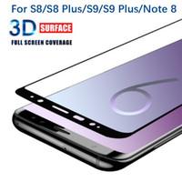 pantallas de samsung usadas al por mayor-Utilice vidrio curvado 3D para Samsung Galaxy S10 Note 9 S9 S9 Plus S8 S7 Edge Tipo pequeño 3D Protector de pantalla de vidrio templado curvo en cualquier caso