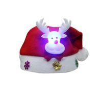 Wholesale Black Santa Ornaments - LED Adult & Kid Cheer Christmas Hat Children Santa Claus Reindeer Snowman Cute Party Cap New Year