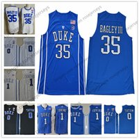 Wholesale Grey Collar - NCAA Duke Blue Devils #35 Marvin Bagley III 1 Kyrie Irving Trevon Duval royal white round collar Stitched College Basketball Jerseys S-3XL