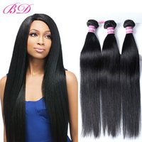 Wholesale great remy hair - BD Peruvian Straight Hair Weave Bundles Human Hair 4 Bundles Double Weft Non-remy Hair Great Quality
