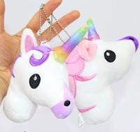 Wholesale Gift Horse Movie - Unicorn Plush toys Crystal Soft Stuffed Rainbow horse Key Pendant Kids gifts Cartoon Bag hanging accessories 8PCS