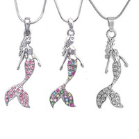 Wholesale mermaid fashion accessories resale online - Crystal Necklace Rhinestone Mermaid Statement Pendant Necklace for Women Girl Jewelry fashion sweater accessories Statement Necklace