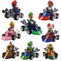 Wholesale hot anime toys for sale - Group buy Mario Bros Figures Cm Japan Anime Luigi Dinosaurs Donkey Kong Bowser Kart Pull Back Car Pvc Figma Kids Hot Toys for Boys