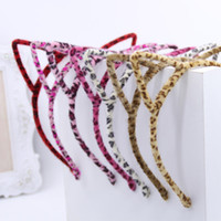 Wholesale Factory Outlets Europe - Europe and the United States plush cat ears headband headdress leopard cat headband metal head hoop constantly factory outlets