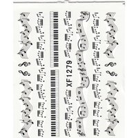 украшения ноты оптовых-NEW 1 Sheet Music Note Melody Water Decals Art Accessories Transfer Stickers Tips Decoration Nail Salon DIY XF1279