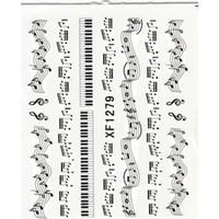 ingrosso note di musica di decorazione-NUOVO 1 Sheet Music Note Melody Water Decals Art Accessori Transfer Stickers Suggerimenti Decorazione Nail Salon DIY XF1279