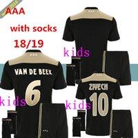 Wholesale military kits - Thailand Quality 2018 2019 Ajax FC Kids Kit + Socks T-shirt 18 19 KLAASSEN FISCHEA BAZOER MILIK Military Shirt Ajax Kids jersey