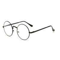 круглые круглые солнцезащитные очки оптовых-Men/women Round Sunglasses Retro Metal Frame Eyeglasses Korean Clear Lens Glasses Male Female Optical Circle Plain Mirror