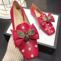 Wholesale square mouth shoes - 2018 the new shallow mouth flat head doug shoes leisure bowknot pearl princess shoes work shoes