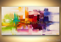 cuchillo de paleta abstracto moderno al por mayor-Hecho a mano óleo lienzo paleta cuchillo textura pintura al óleo colorido arte abstracto colgar decoración de la pared decoración del hogar moderno