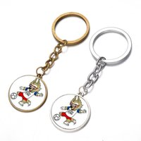 Wholesale wholesale mascot charms - 2018 Russia World Cup Mascot Design Key Ring Cartoon Wolf Style Keychain Metal Football Fans Favor Keys Charms 1 5sx Z