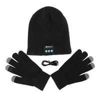 tapa de la pantalla al por mayor-Casquillo de la gorrita tejida de la pantalla táctil elegante inalámbrica de Bluetooth del invierno integrado en los guantes de la pantalla táctil de los auriculares
