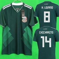 Wholesale H Shirts - Thailand Camisa Mexico soccer jersey 2018 CHICHARITO R MARQUEZ G DOS SANTOS H LOZANO world cup football shirt jersey camisetas de futbol