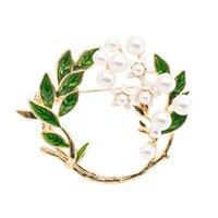 ingrosso spilla verde oliva-Moda Smalto verde Rotondo Ramo d'ulivo Spilla Pin Foglie Fiore Broach Donne Accessori abito gioielli FYN115