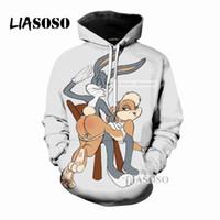 ingrosso felpe con cappuccio-LIASOSO 2018 Nuovo Fumetto Carino Bugs Bunny 3D Stampa Donna Uomo Con Cappuccio Felpe Felpe Pullover Harajuku stile Hip Hop X0289