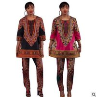 Wholesale Folk Costumes - spring women's clothes two-piece African style auspicious costumes folk style casual wear 2 color optional suits