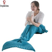 mermaid tail sleeping bag toptan satış-Mermaid Battaniye Uyku Ekose Örme Kareli El Yapımı Tığ Mermaid Kuyruk Battaniye Örgü Tığ Yumuşak Uyku Tulumu JW211