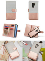 white rose clutch 2018 - Magnetic Detachable Flip Wallet Holster Pouch Clutch Phone Shell Wristband Bracelet Rope Stripe Leather Handbag Case for iPhone Samsung