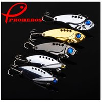 Wholesale sequin fishing lures resale online - 2018 New Proberos Metal Spinner Spoon Fishing Lure Hard Baits Sequins Noise Paillette with Feather Treble Hook Tackle g
