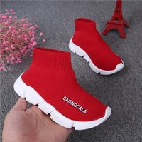 Wholesale girl knit boots - kids shoes baby running sneakers boots toddler boy and girls Wool knitted Athletic socks shoes