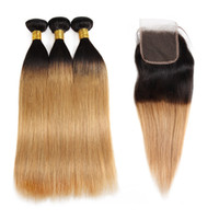 Wholesale ombre hair extensions 27 resale online - Ishow A Honey Blonde Straight Ombre Human Hair Weave Bundles with Lace Closure b Body Wave J Brazilian Hair Extensions T1B BUG