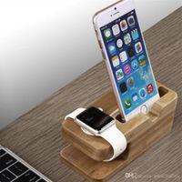 bambus-ladegerät großhandel-Handy Ladegerät Dock mit Uhr Bambus Halter Schreibtisch Holz Ladestation für Apple Watch iPhone 7 6 s Plus Telefon Bambus Ladegerät Station