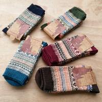uzun yün çoraplar toptan satış-Peonfly Sonbahar Kış Adam Yün Ulus Erkek Mutlu Erkek Yenilik Uzun Çorap Erkekler Komik Pamuk 5 çift / grup