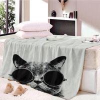 gato simples venda por atacado-Plain Knitted Cat Início Têxtil Cobertor Dos Desenhos Animados para Crianças Presente Doraemon Stitch Coral Fleece Cobertor Jogue na Cama Sofá Meninos