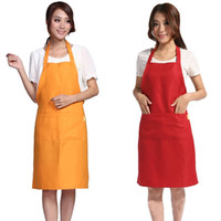Wholesale cook clothing - Plain Apron With Front Pocket Bib Kitchen Cooking Craft Chef Baking Aprons Art Adult Teenage College Clothing Hot Sale Z4 5jf Z