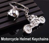 Wholesale girl motorcycle helmets - 2018 Men Keychain Helmet & Motorcycle Key Holder 3D Key Rings Keyfob for Men Creative Gift Key Chains Support FBA Drop Shipping G660Q